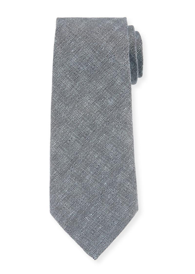Armani Men's Neat Textured Linen/Silk Tie