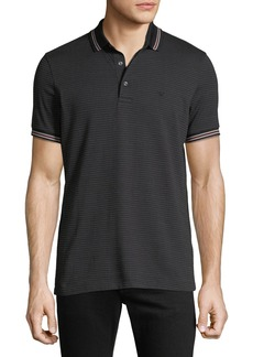 Armani Men's Patterned Micro Jacquard Polo Shirt