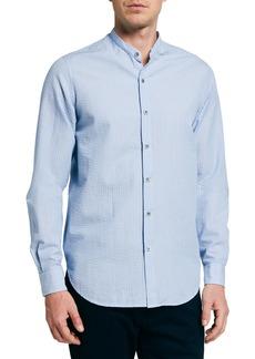 Armani Men's Seersucker Mandarin-Collar Sport Shirt