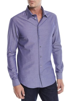 Armani Men's Seersucker Sport Shirt  Blue/Gray