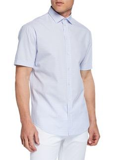 Armani Men's Short-Sleeve Box-Print Shirt