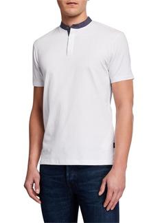 Armani Men's Short-Sleeve Contrast-Collar Henley Shirt