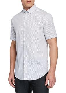 Armani Men's Short-Sleeve Micro-Diamond Shirt