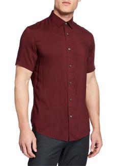 Armani Men's Short-Sleeve Woven Viscose Shirt