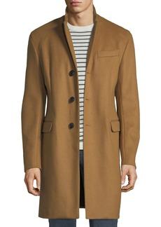 Armani Men's Single-Breasted Wool Top Coat  Beige