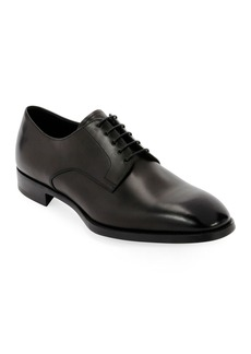 Armani Men's Smooth Leather Rubber-Sole Derby Shoe