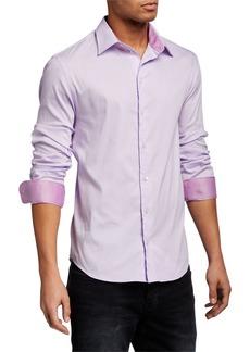 Armani Men's Solid Contrast-Reverse Neat Sport Shirt