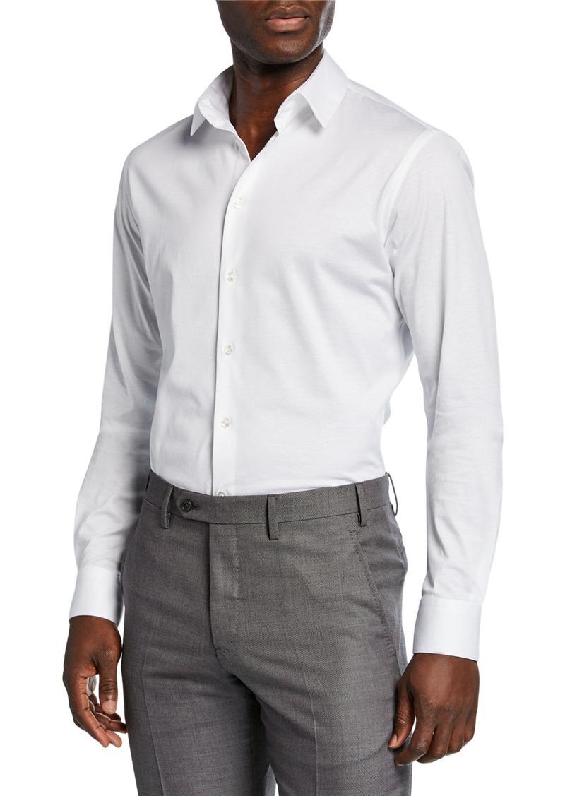 Armani Men's Solid Jersey Sport Shirt