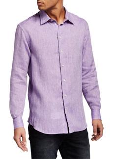 Armani Men's Solid Linen Sport Shirt