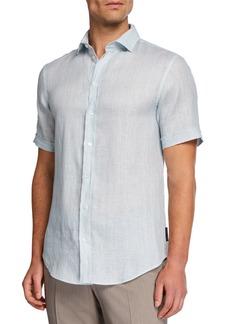 Armani Men's Solid Micro-Box Linen Sport Shirt