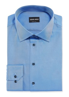 Armani Men's Solid Twill Dress Shirt  Deep Blue