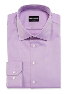 Armani Men's Solid Twill Dress Shirt  Lavender