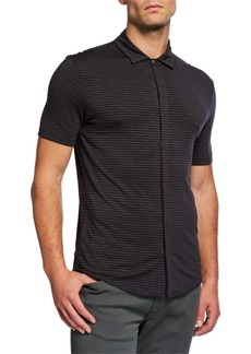 Armani Men's Striped Button-Down Polo Shirt