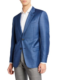 Armani Men's Super 130s Plaid Sportcoat