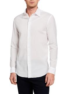 Armani Men's Textured Cotton Sport Shirt