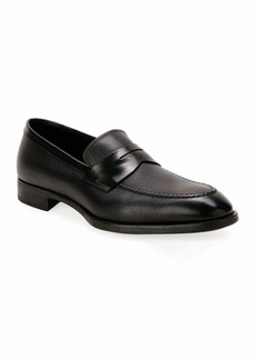 Armani Men's Textured Leather Penny Loafers