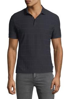 Armani Men's Tonal Grid-Pattern Polo Shirt
