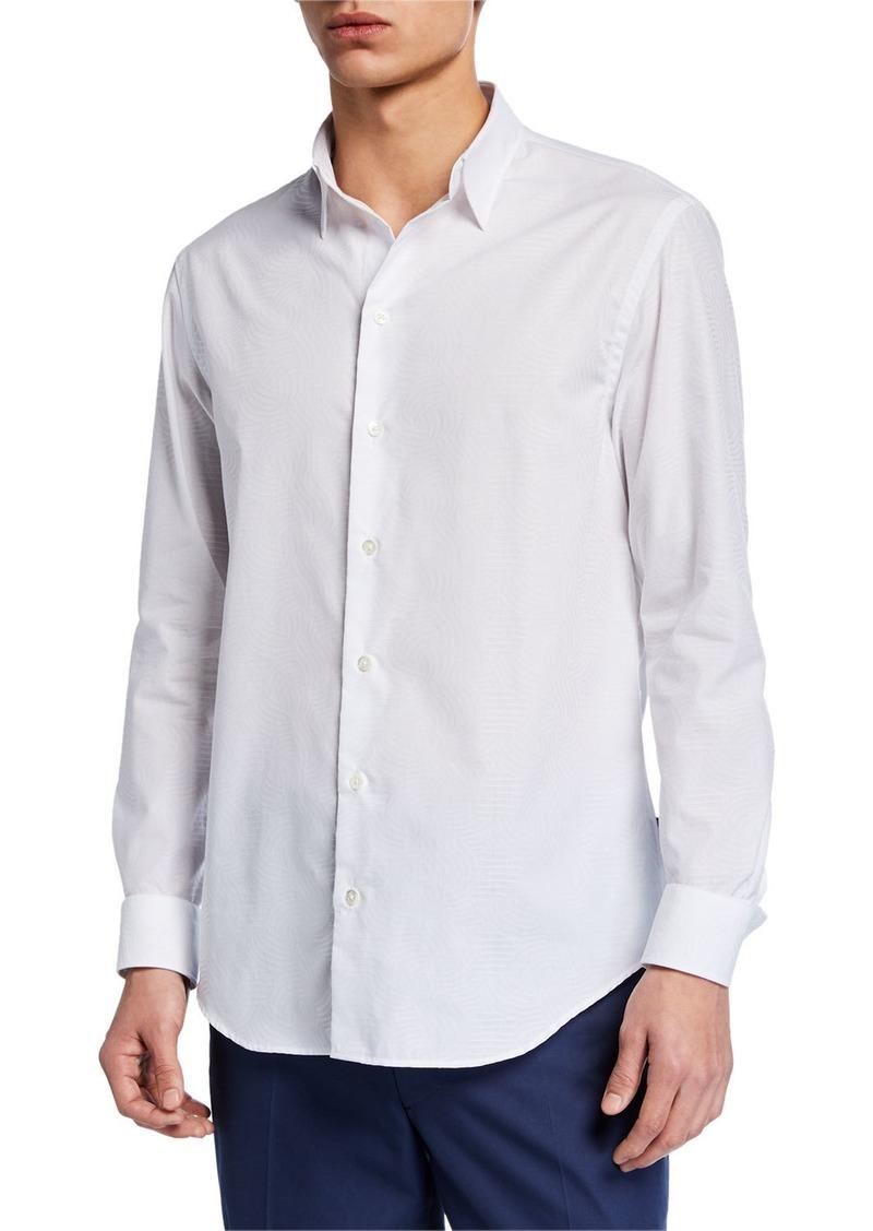Armani Men's Tonal Jacquard Sport Shirt