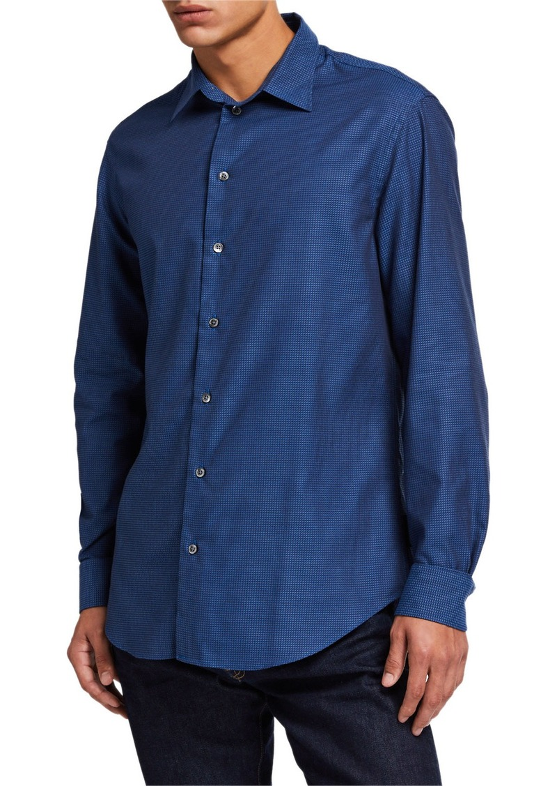 Armani Men's Tonal Micro-Pattern Sport Shirt