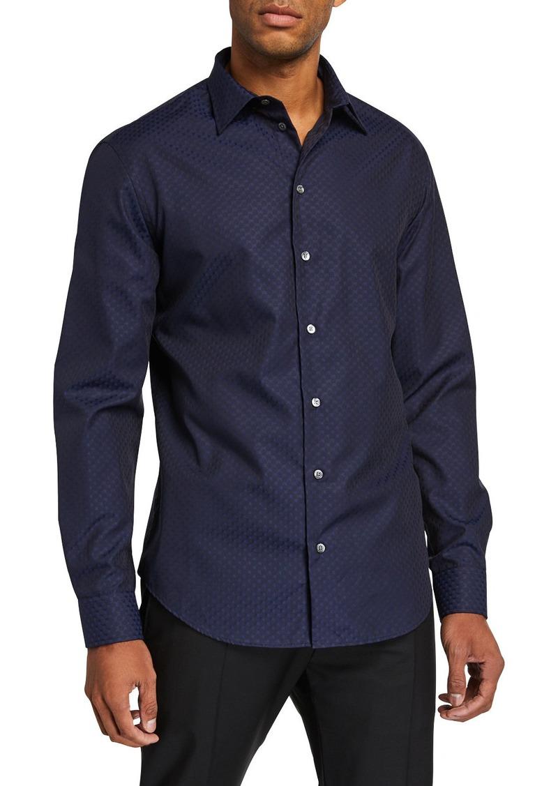 Armani Men's Tonal Pattern Textured Cotton Sport Shirt