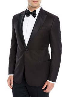 Armani Men's Tonal Pattern Wool Dinner Jacket