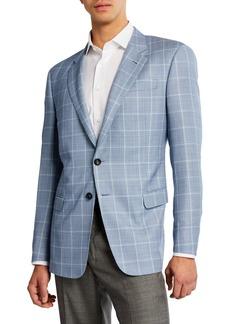 Armani Men's Tonal Windowpane Wool Sport Coat