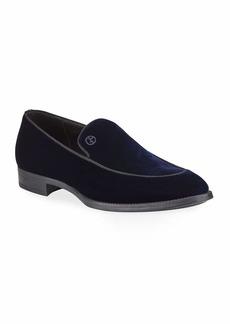 Armani Men's Velvet Formal Loafers  Navy