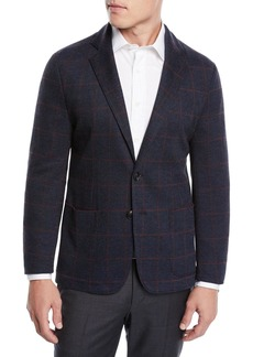 Armani Men's Windowpane Jacquard Soft Blazer Jacket