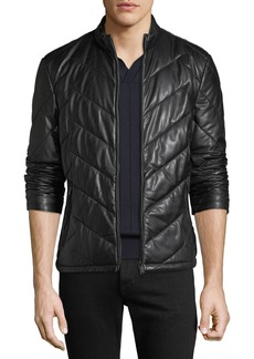 Armani Men's Zip-Front Chevron-Quilted Lamb Leather Jacket