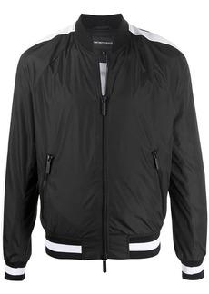 Armani mesh stripe detail round neck bomber jacket