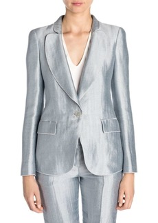 Armani Metallic Chevron Jacquard One-Button Blazer