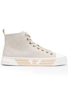 Armani metallic high-top sneakers