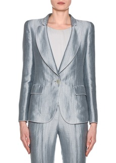 Armani Metallic Linen Chevron Button-Front Blazer  Ice Blue