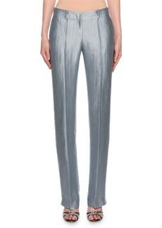 Armani Metallic Linen Chevron Pants  Ice Blue