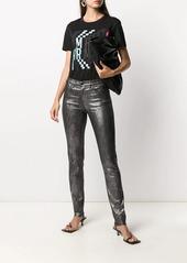 Armani metallic mid-rise skinny jeans