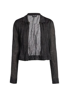 Armani Metallic Silk Cropped Cardigan