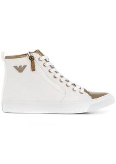 Armani metallic-trimmed hi-top sneakers