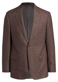 Armani Micro Gingham Wool Single-Breasted Blazer