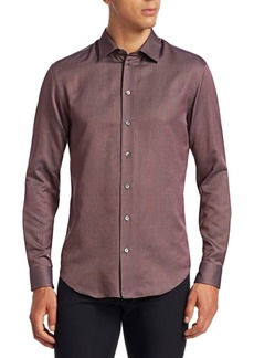 Armani Micro-Weave Button-Down Shirt