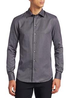 Armani Micro-Weave Button-Down Shirt