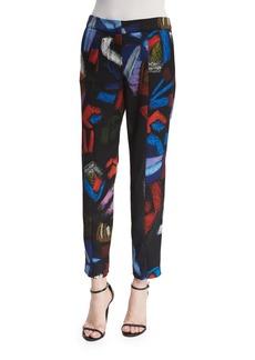 Armani Mid-Rise Envers Printed Ankle Pants