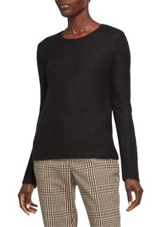 Armani Mohair-Wool Sheer-Stitched Tunic Sweater  Black