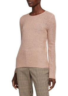 Armani Mohair-Wool Sheer-Stitched Tunic Sweater  Rose