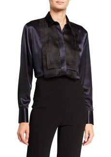 Armani Mulberry Silk Satin Bib Blouse