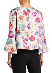 Armani Multi-Floral Flounce Sleeve Blouse