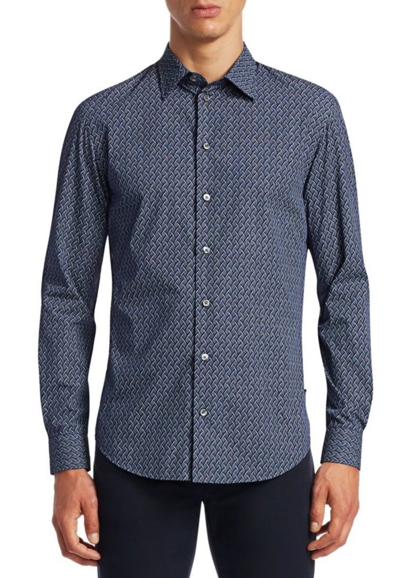 Armani Multi-Print Button-Down Shirt
