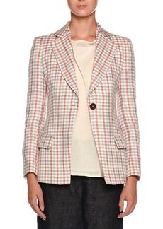 Armani Multicolor Check One-Button Linen Jacket