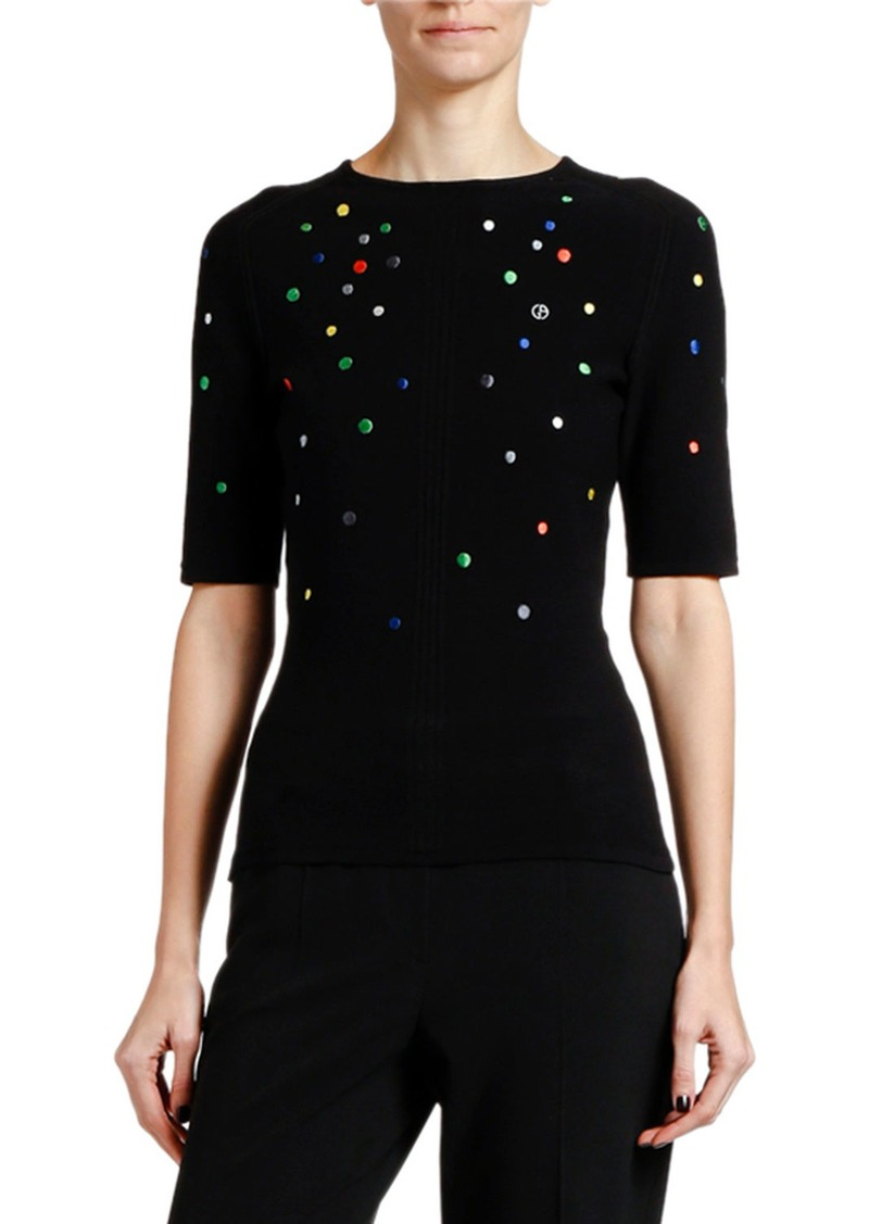 Armani Multicolor Dotted Knit 1/2-Sleeve Sweater