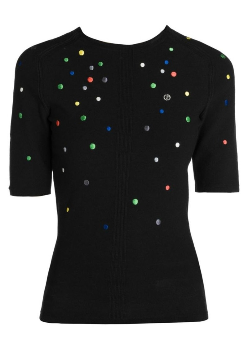 Armani Multicolor Embroidered Dot Short-Sleeve Sweater
