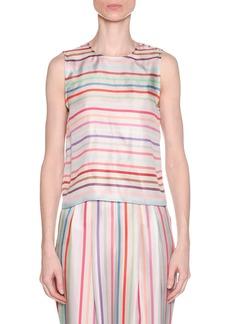 Armani Multicolor Horizontal Striped Twist-Back Silk Shell